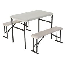3 Piece Recreation Rectangular Folding Table Set