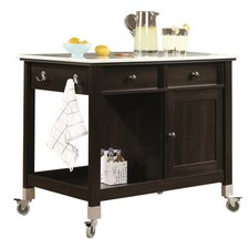 Miscellaneous Storage Kitchen Island with Faux Carrara Marble Top