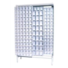 Free Standing Slider Storage System with 5 and 6 Compartment Tip Out Bins