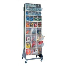 """70"""" Mobile Double Sided Floor Stand Storage Unit with Tip Out Bins"""