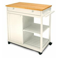 Cottage Kitchen Cart with Wooden Top