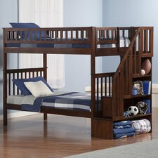 Woodland Twin Over Twin Bunk Bed with Staircase
