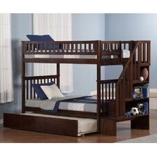 Woodland Twin Over Twin Bunk Bed with Twin Urban Lifestyle Trundle and Staircase