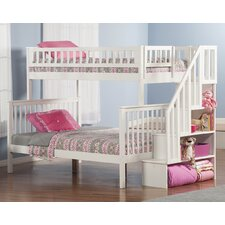 Woodland Twin Over Full Bunk Bed with Staircase