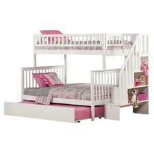Woodland Twin Over Full Bunk Bed with Trundle & Stairs