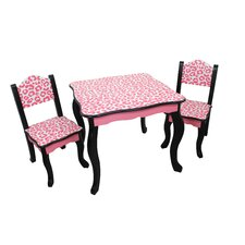 Kids Leopard 3 Piece Square Table and Chair Set