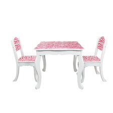 Kids Zebra 3 Piece Square Table and Chair Set