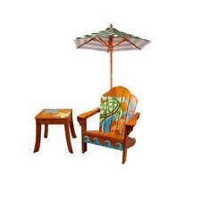 Winland Sea Turtle Outdoor Wood Table & Chair Set in Natural