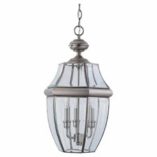 Classic Antique Brushed Nickel 3 Light Outdoor Hanging Lantern