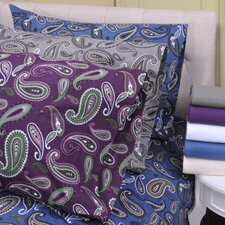 Paisley and Solid Flannel Cotton Sheet Set