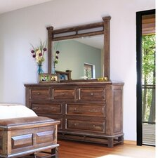 Golden Antique 7 Drawer Dresser with Mirror