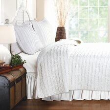 Ruffled Coverlet Set in White