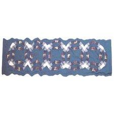 "Blue Double Wedding Ring 54"" Curtain Valance"