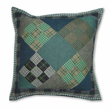Chambray Nine Patch Cotton Throw Pillow