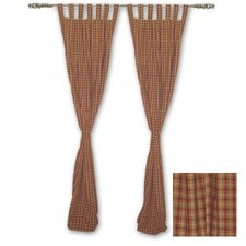 Tan and Gold Rustic Check Cotton Curtain Panels (Set of 2)