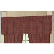"""Red Plaid and Green Black Lines Rod Pocket 54"""" Curtain Valance"""