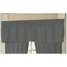 "Navy and Light Blue Plaid Rod Pocket 54"" Curtain Valance"