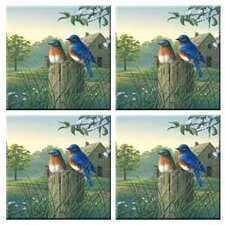 Tuftop Country Morning Bluebirds Coasters (Set of 4)
