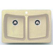 "33"" x 22"" Alpha Granite ROK Double Bowl Kitchen Sink"