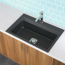 "33"" x 22"" Workcenter Granite ROK Single Bowl Kitchen Sink"