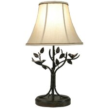 "Iron Bird and Leaf 29.5"" H Table Lamp with Bell Shade"