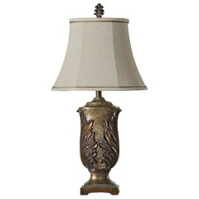"Hand Carved Leaf 31"" H Table Lamp with Bell Shade"