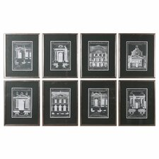 Architecturals Vintage 8 Piece Framed Painting Print Set