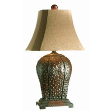 """Rustic Metal 34"""" H Table Lamp with Bell Shade"""