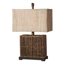 "Woven Rattan Barbuda 27"" H Table Lamp with Rectangular Shade"