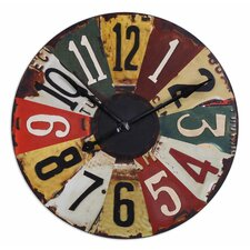 "Vintage Oversized 29"" License Plates Wall Clock"
