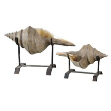 2 Piece Conch Shell Sculpture