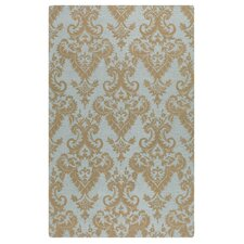 Toulouse Blue Gray Damask Area Rug