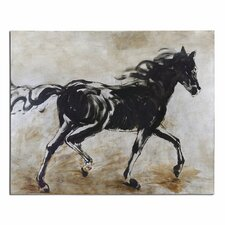 Black Beauty Horse Canvas Painting