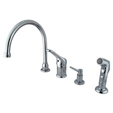 One Handle Widespread Kitchen Faucet with Loop Pull Out Handle and Soap Dispenser