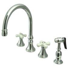 Deck Mount Double Handle Widespread Kitchen Faucet with Porcelain Cross Handle