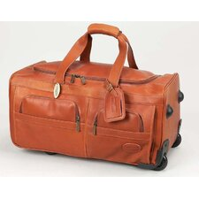 "Luggage 22"" 2-Wheeled Leather Travel Duffel"