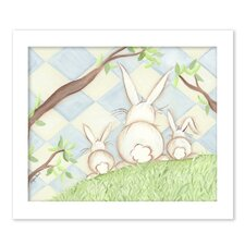 Birds Bunnies Bunny Diamond Giclee Framed Art