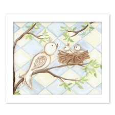 Birds Bunnies Birdie Diamond Giclee Framed Art