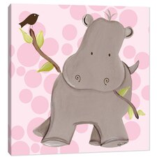 Jungle Henrietta Hippo Canvas Art