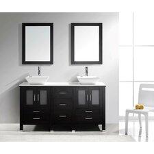 """Brentford Series 60"""" Double Bathroom Vanity Set with Mirror"""