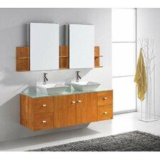"Ultra Modern 61"" Double Clarissa Bathroom Vanity Set with Mirror"