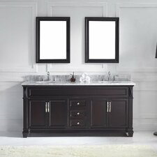 "Victoria 72"" Double Bathroom Vanity Set with Mirror"