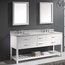 "Caroline Estate 73"" Double Bathroom Vanity Set with Mirror"