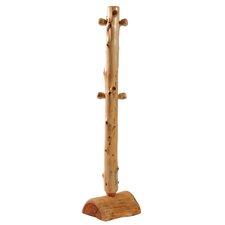 Traditional Cedar Log Floor Coat Tree with Pegs