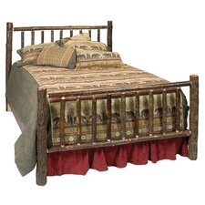 Hickory Log Slat Panel Bed