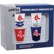 4 Piece Boston Red Sox 2 Oz. Shot Glass 4 Collector Set (Set of 4)