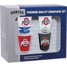 4 Piece Ohio State Buckeyes 2 Oz. Shot Glass Collector Set (Set of 4)