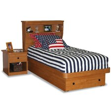 Twin Platform Bed with Bookcase Headboard