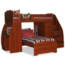 Sierra Twin Over Twin L Shaped Bunk Bed with Desk and Stairs