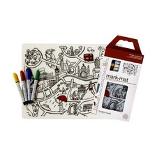 Mark-Mat London Placemat with 4 Markers
